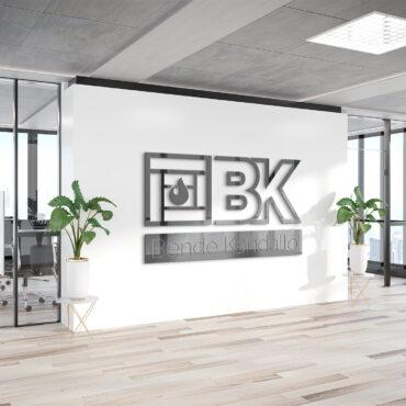 Logo on office wall Mockup fotocim